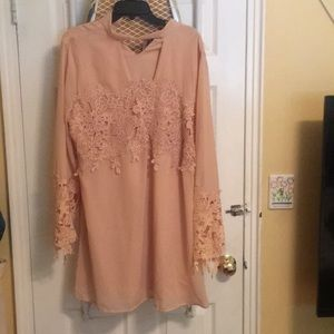 BooBoo dusty pink dress with lace detail